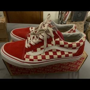 Red and white checkered old school vans